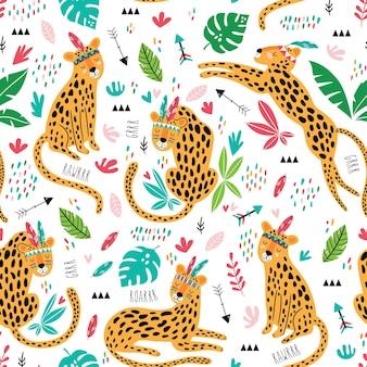 Lindos leopardos tribales de patrones sin fisuras. textura repetida infantil linda. leones de dibujos animados. plantilla para tela infantil.