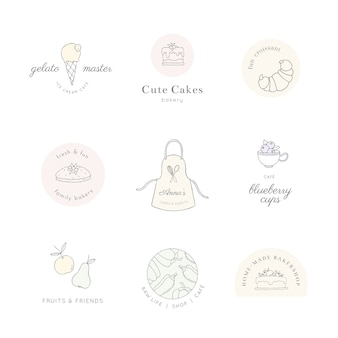 Lindos logotipos de comida y cocina de arte lineal