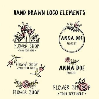 Lindos logotipos florales dibujados a mano