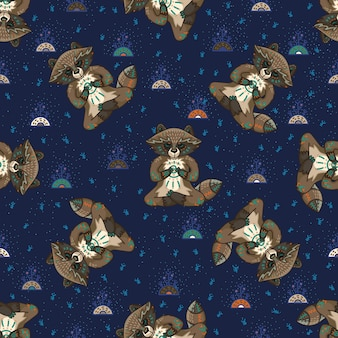 Lindos mapaches tribales. patrón sin costuras