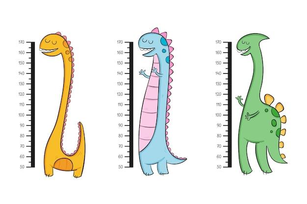 Lindos medidores de altura dibujados ilustrados
