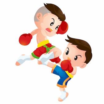 Lindos niños de boxeo tailandeses luchando acciones de rodillas por huelga