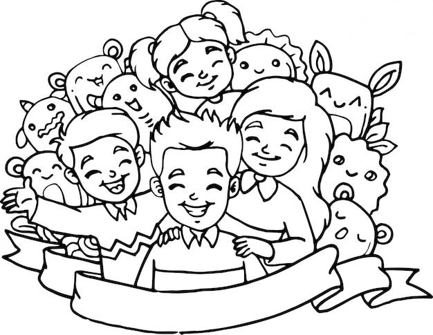 Lindos niños con colección de monstruos en estilo doodle.