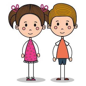 Lindos niños dibujando el diseño de ilustración vectorial