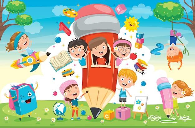 Lindos niños jugando en la casa de lápices
