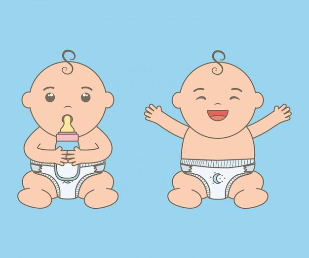 Lindos niños pequeños bebés con biberones personajes