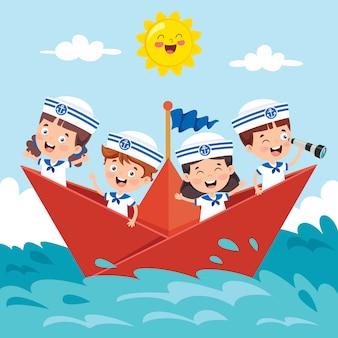 Lindos niños pequeños en uniforme de marinero