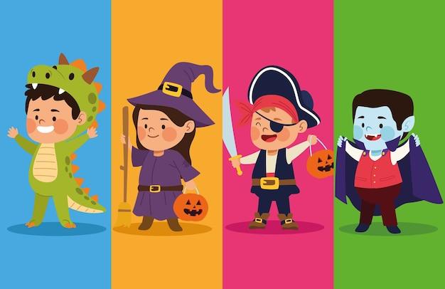 Lindos niños vestidos como diferentes personajes, diseño de ilustraciones vectoriales