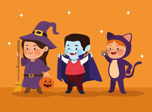 Lindos niños vestidos como un gato y una bruja con personajes de drácula, diseño de ilustraciones vectoriales