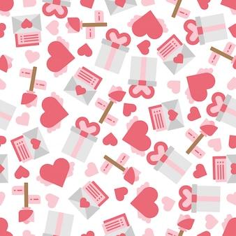Lindos objetos y elementos del día de san valentín en el fondo de patrones sin fisuras