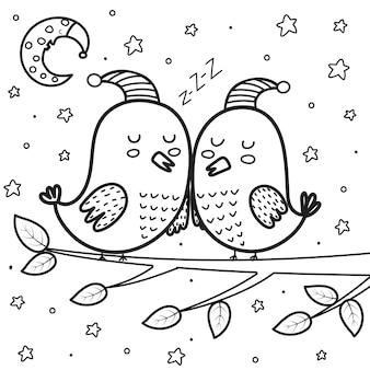 Lindos pájaros durmiendo en la noche para colorear página luna y estrellas dulces sueños ilustración vectorial