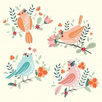 Lindos pájaros con flores ilustración vectorial