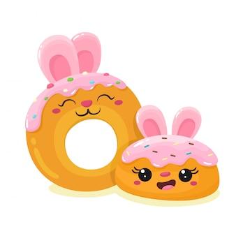 Lindos pasteles conejitos. personajes de dibujos animados de estilo plano.