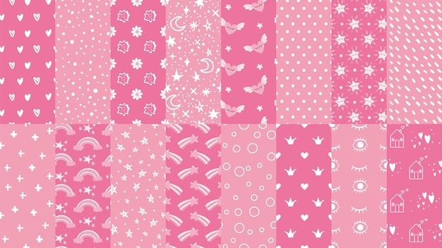 Lindos patrones sin fisuras de color rosa.