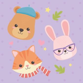 Lindos y pequeños animales con hojas y personajes de corazones.