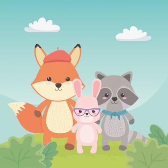 Lindos y pequeños animales en los personajes de campo.