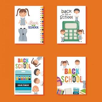 Lindos y pequeños estudiantes en hojas de cuaderno y útiles. de vuelta a la escuela