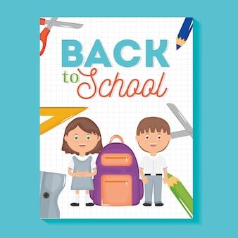 Lindos y pequeños estudiantes con suministros. de vuelta a la escuela