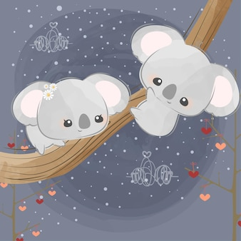 Lindos pequeños koalas enamorados