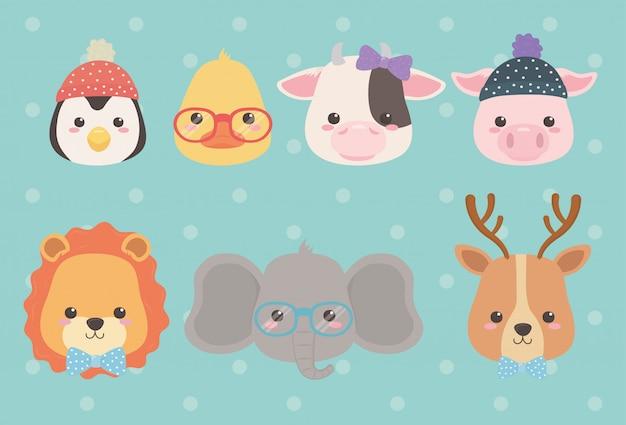 Lindos y pequeños personajes de animales.