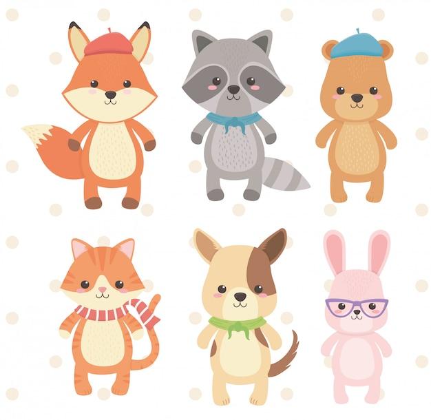 Lindos y pequeños personajes del grupo de animales.