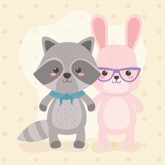 Lindos y pequeños personajes de mapaches y conejos.