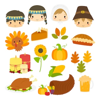 Lindos personajes de acción de gracias y elementos de acción de gracias vector colección.