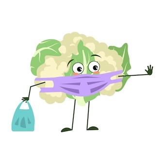 Lindos personajes de coliflor con emociones, cara y máscara mantienen distancia, manos con bolsa de compras y gesto de parada. un héroe triste, un repollo vegetal con ojos.