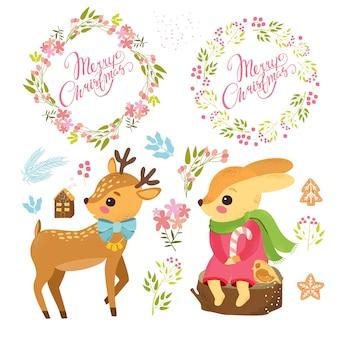 Lindos personajes de dibujos animados con coronas de navidad y conjunto de plantas