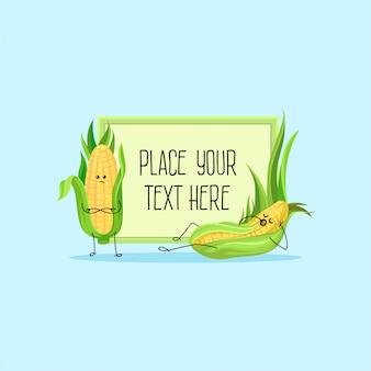 Lindos personajes de dibujos animados divertidos mazorcas de maíz hoding banner con espacio para su texto ilustración