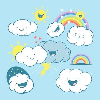 Lindos personajes de dibujos animados de nube, sol y arco iris conjunto aislado sobre un fondo blanco.