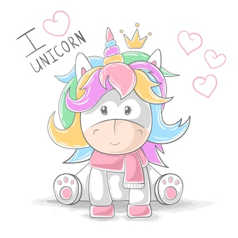 Lindos personajes de dibujos animados unicornio de peluche