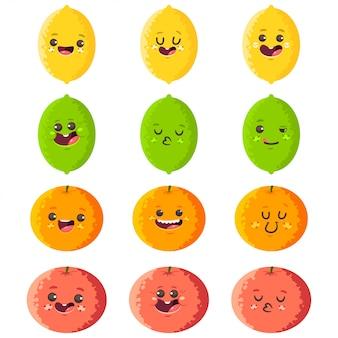 Lindos personajes de dibujos animados de vector de limón, lima, naranja y pomelo conjunto aislado.