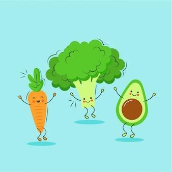 Lindos personajes de dibujos animados de zanahoria, brócoli y aguacate