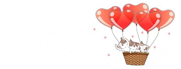 Lindos personajes de gato dentro de la canasta con globos