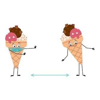Lindos personajes de helado con cara de emociones y máscara mantienen distancia brazos y piernas el divertido o triste h ...