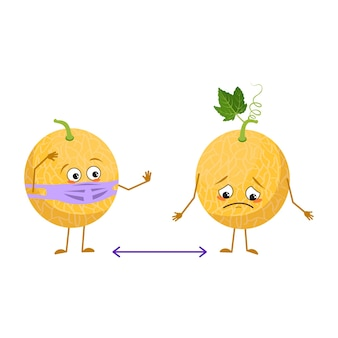Lindos personajes de melón con emociones, rostro y máscara mantienen distancia, brazos y piernas. el héroe divertido o triste, fruta con ojos. ilustración vectorial plana
