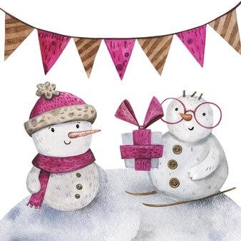 Lindos personajes de muñeco de nieve dibujados a mano en acuarela con un regalo