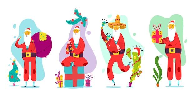 Lindos personajes de navidad divertidos de santa claus en fondo blanco.