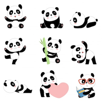 Lindos personajes de panda. oso chino recién nacido pandas feliz mascota de juguete aislado