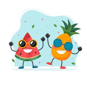 Lindos personajes de piña y sandía. colorido diseño de verano.