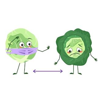 Lindos personajes de repollo con emociones, cara y máscara mantienen distancia, brazos y piernas. el héroe divertido o triste, vegetal con ojos. ilustración vectorial plana