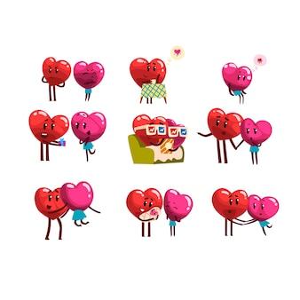 Lindos personajes sonrientes de corazones rojos y rosados, divertidas parejas enamoradas de diferentes emociones
