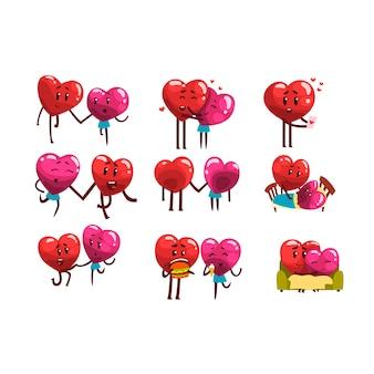 Lindos personajes sonrientes de corazones rojos y rosados, divertidas parejas enamoradas de diferentes situaciones y emociones