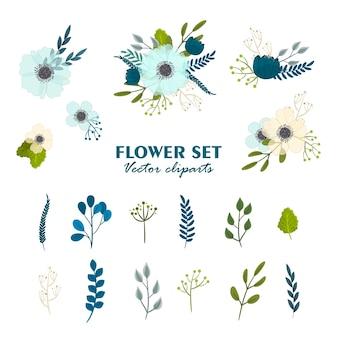 Lindos ramos de flores, conjunto de flores de imágenes prediseñadas
