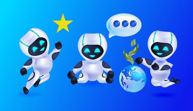 Lindos robots discutiendo durante la reunión ilustración vectorial horizontal del concepto de tecnología de inteligencia artificial del equipo de personajes robóticos modernos