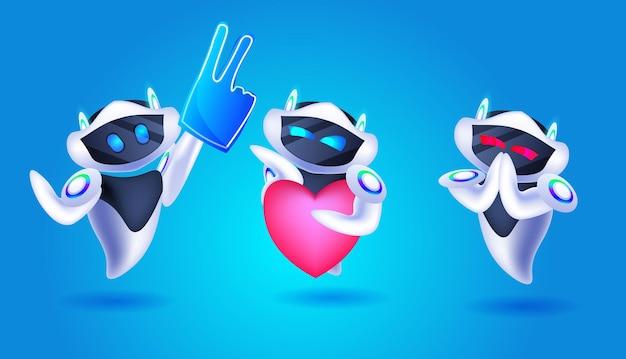 Lindos robots con iconos de redes sociales personajes robóticos modernos comunicación en línea inteligencia artificial