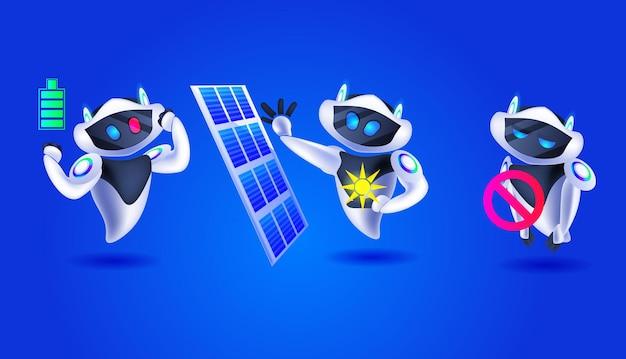 Lindos robots con panel solar moderno equipo de personajes robóticos inteligencia artificial concepto de tecnología ilustración vectorial horizontal