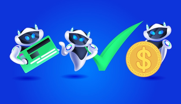 Lindos robots con tarjeta de crédito y moneda de dólar moderno equipo de personajes robóticos concepto de tecnología de inteligencia artificial