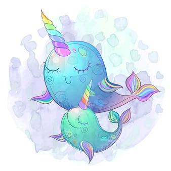 Lindos unicornios de ballena de hadas